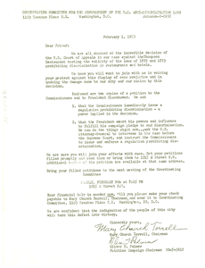 Letter from Coordinating Committee for the Enforcement of the D.C. Anti-Discrimination Law to W. E. B. Du Bois