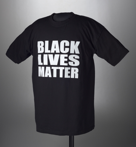 "Black t-shirt printed with ""Black Lives Matter"""
