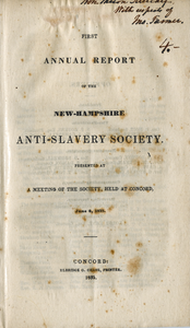Annual report of the New-Hampshire Anti-slavery Society. vol. 1, no. 1