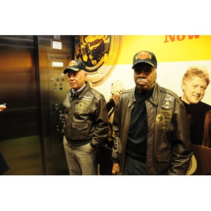 Harvey Sanford and Willis D. Saunders, Jr. in an elevator.