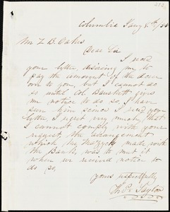 Thomas Taylor, Columbia, Tenn., autograph letter signed to Ziba B. Oakes, 8 January 1855