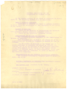 National Association for the Advancement of Colored People Report of the secretary for the April 1919 meeting of the Board.