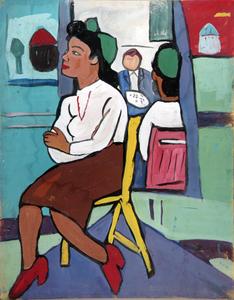 Art Class--Model in Yellow Chair
