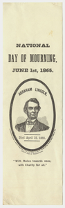 National day of mourning, June 1st, 1865 paper ribbon