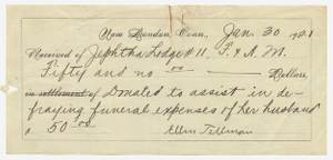 Receipt for the funeral expenses of William Tillman, 1921 January 30
