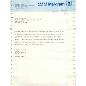 Telegram, Jean McGuire, April 26, 1976.