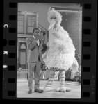 """Sesame Street's Big Bird with Flip Wilson filming episode of """"The Flip Wilson Show,"""" 1970"""