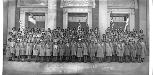 Girl Scouts reviewed by the King and Queen of England at the White House, June 8, '39 Scurlock Photo [panoramic cellulose acetate photonegative]