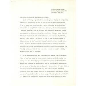 Charles A. Pinderhughes letter to Mayor Collins.