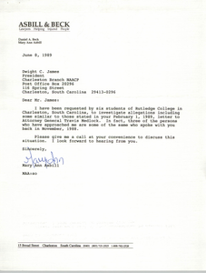 Letter from Mary Ann Asbill to Dwight C. James, June 8, 1989