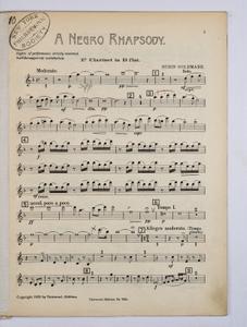 Goldmark, Rubin / NEGRO RHAPSODY, A, Clarinet PART.