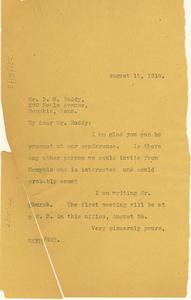 Letter from W. E. B. Du Bois to Burt M. Roddy