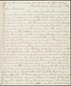 Letter from Joseph Ricketson, New Bedford, [Mass.], to Deborah Weston, 12th month 1st [day] 1861