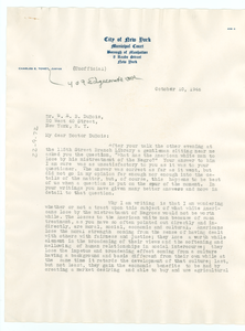 Letter from Charles E. Toney to W. E. B. Du Bois