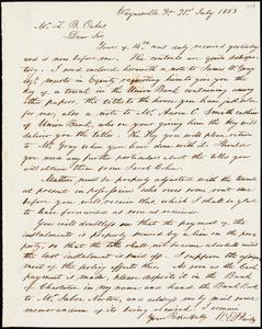 W. E. Bailey, Waynesville, Ga., autograph letter signed to Ziba B. Oakes, 21 July 1853