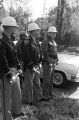 Policemen lined up across Old Montgomery Road to block a student demonstration in Tuskegee, Alabama, to protest the murder of Samuel L. Younge, a civil rights worker.