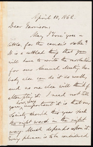 Letter from Oliver Johnson, [Place of publication not identified], to William Lloyd Garrison, April 10, 1862