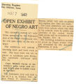 Open exhibit of Negro art; Morning Register (Des Moines, Iowa); Women's military activity