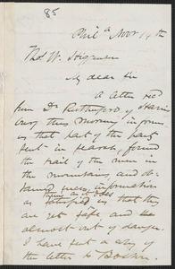 James Miller M'Kim autograph letter signed to Thomas Wentworth Higginson, Phila[delphia], 14 November [1859]
