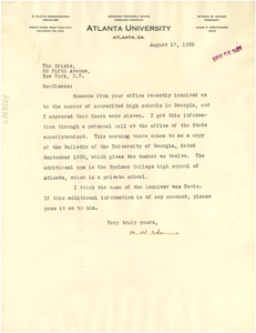 Letter from M. W. Adams to The Crisis