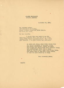 Letter from W. E. B. Du Bois to Countee Cullen