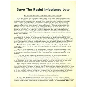 Save the Racial Imbalance law.