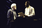 """Actors (L-R) Herb Foster & Delroy Lindo in a scene fr. the Playwrights Horizons' production of the play """"The Heliotrope Bouquet By Scott Joplin & Lous Chauvin."""" (New York)"""