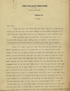 Letter: Valdosta, Georgia to Ben Stein, Macon, Georgia, possibly 1927