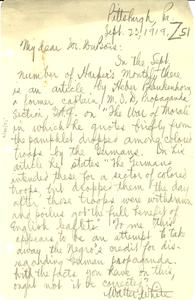 Letter from Walter White to W. E. B. Du Bois