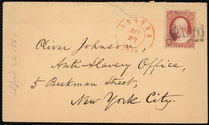 Letter from William Lloyd Garrison, Boston, [Mass.], to Oliver Johnson, April 23, 1861