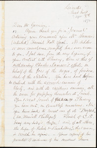 Letter from Samuel May, Jr., Leicester, [Mass], to William Lloyd Garrison, [September] 8th [1872]