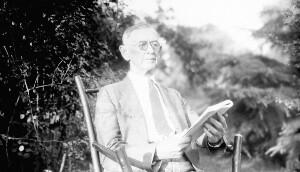 Unidentified man reading.