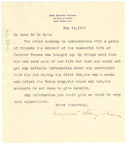 Letter from Margaret Loring Thomas to W. E. B. Du Bois