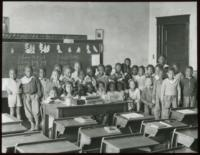 African-American Students Class Portrait in Classroom Elementary School Age