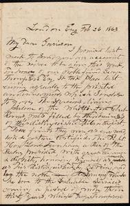Letter from John Punchard Jewett, London, U.K., to William Lloyd Garrison, Feb[ruary] 26 1863