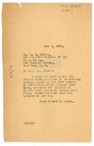 Letter from W. E. B. Du Bois to Y.M.C.A. National Council