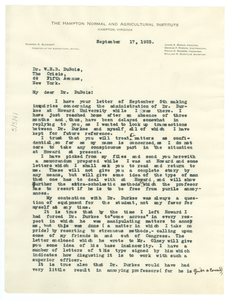 Letter from Thomas W. Turner to W. E. B. Du Bois