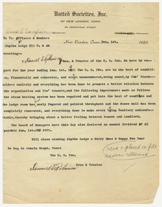 Letter from the United Societies, Inc., to Jephtha Lodge, No. 11, 1920 December 1