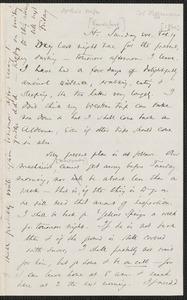 Thomas Wentworth Higginson autograph letter to [Mrs. Mary Elizabeth Channing Higginson, Harrisburg, PA], 19 February [1860]