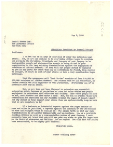 Letter from Roscoe Conkling Bruce to Daniel Reeves Inc.