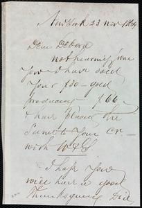 Letter from Richard Warren Weston, New York, to Deborah Weston, 23 Nov. 1864