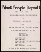 Handbill. Black People Boycott