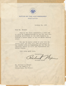 Letter to Richard Howard from Vice Pres. Richard Nixon, October 22, 1960