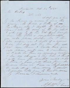 A. J. McElveen, Sumterville, S.C., autograph letter signed to Ziba B. Oakes, 28 February 1855