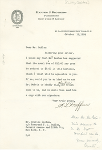 Letter from Harper & Brothers to Countee Cullen
