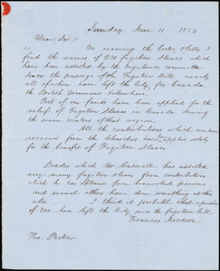 Letter from Francis Jackson to Theodore Parker, 1854 June 11