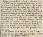 Brief news item about the memorial address delivered by George Bancroft on Abraham Lincoln's birthday in 1866.