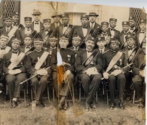 Group portrait of African American men in Masonic regalia