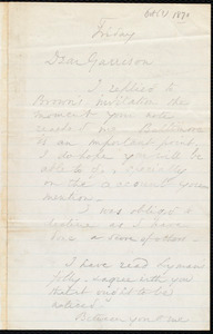 Letter from Wendell Phillips, to William Lloyd Garrison, [October 1870]