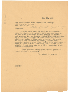 Letter from W. E. B. Du Bois to The Great Atlantic and Pacific Tea Company